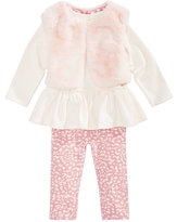 First Impressions 3-Pc. Faux-Fur Vest, Peplum Tunic & Leggings Set, Baby Girls (0-24 months), Created for Macy's