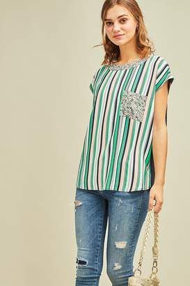 Entro Boat Neck Striped Multi Colored Blouse with Floral Detail