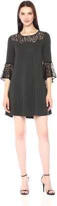 Kensie Women's Drapey French Terry Long Sleeve Lace Dress