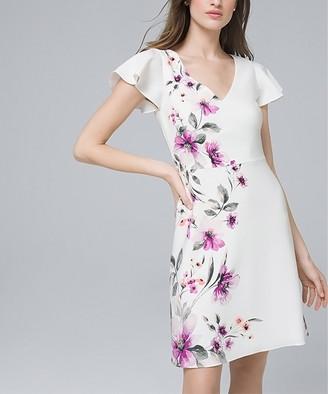 White House Black Market Women's Casual Dresses Ecru - Ecru & Violet Floral V-Neck A-Line Dress - Women