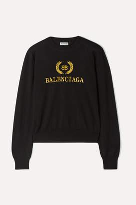Balenciaga Embroidered Wool Sweater - Black