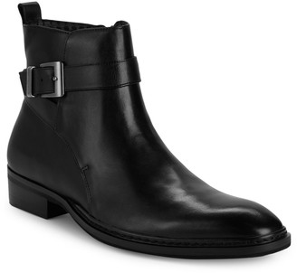 Karl Lagerfeld Paris Buckled Leather Ankle Boots