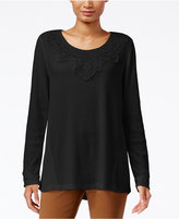 Style&Co. Style & Co. Lace-Trim Waffle-Knit Top, Only at Macy's