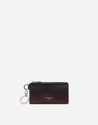 Dolce & Gabbana Two-Tone Calfskin Card Holder With Heat-Stamped Logo