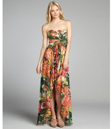 Nicole Miller tan floral print chiffon 'Angie' strapless gown
