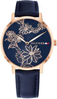 Tommy Hilfiger Women's Navy Leather Strap Watch 35mm