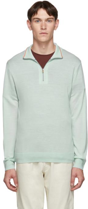 Paul Smith Green Merino Half-Zip Sweater