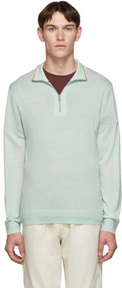 Paul Smith Green Merino Half-Zip Sweater