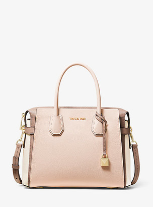 Michael Kors Mercer Medium Tri-Color Pebbled Leather Belted Satchel