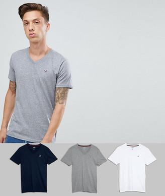 Hollister 3 pack v-neck t-shirt seagull logo slim fit in white/grey/navy-Multi