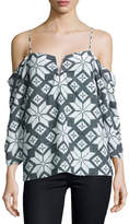 Nicole Miller Printed Chiffon Cold-Shoulder Blouse, Gray/White