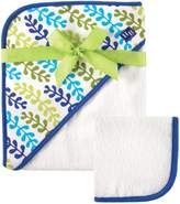 Hudson Baby Print Woven Hooded Towel and Washcloth, by