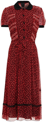 Anna Sui Guipure Lace-trimmed Printed Crepon Dress