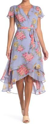Betsey Johnson Bouquet Chiffon Wrap Dress (Regular & Plus Size)