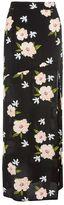 Topshop Black split floral print maxi skirt