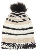 Missoni Knitted wool hat with fur trim