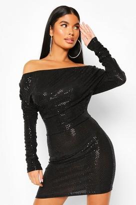 boohoo Petite Metallic Off Shoulder Long Sleeve Dress
