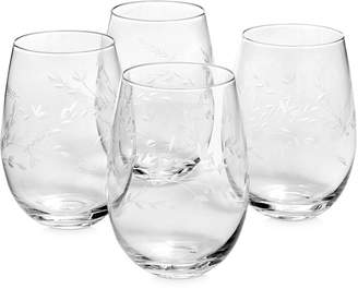 Hotel Collection Etched Floral Stemless Wine Glasses, Set of 4