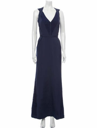 J. Mendel V-Neck Long Dress Blue