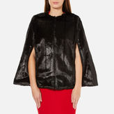 MICHAEL Michael Kors Women's Reversible Faux Fur Cape Black