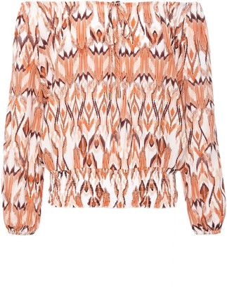 Melissa Odabash Anne Off-the-shoulder Printed Voile Top