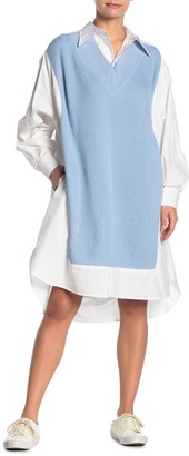 Tov Twofer Knit Midi Shirt Dress