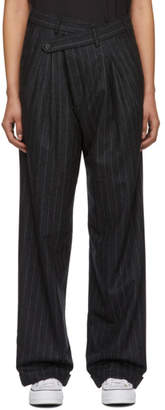 R 13 Black and Grey Wool Triple Pleat Crossover Trouser