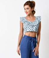 Motel Retro Pin Up Style Blue Gingham & Floral Button Up Chino Crop Top