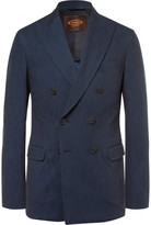 Tod's Blue Slim-Fit Double-Breasted Denim Blazer