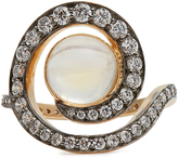 NOOR FARES Diamond, moonstone & yellow-gold ring