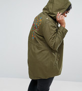 Brave Soul Plus Festival Parka With Embroidered Back