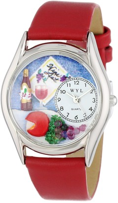 Whimsical Watches Wine & Cheese Red Leather and Silvertone Unisex Quartz Watch with White Dial Analogue Display and Multicolour Leather Strap S-0310004
