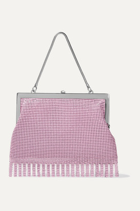 HVN Zoe Fringed Chainmail Tote - Baby pink