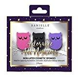 Danielle Creations 3-Piece Owl Shaped Non-Latex Makeup Blending Sponges, Pink/Brown/Purple