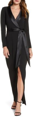 Eliza J Tuxedo Faux Wrap Long Sleeve Gown