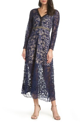 Foxiedox Elisabet Long Sleeve Lace Midi Dress
