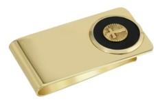 2028 Gold-Tone Black Enamel Cross Money Clip