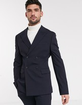 Asos DESIGN skinny double breasted suit jacket in navy