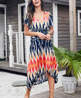 Reborn Collection Women's Casual Dresses Navy - Navy & Red Abstract Tulip Hem Midi Dress - Women