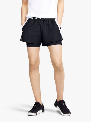 Under Armour Play Up 2-in-1 Training Shorts, Black/White