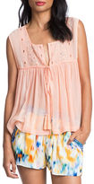 Plenty by Tracy Reese Shirred Embroidered Jersey Top