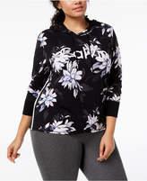 Calvin Klein Plus Size Floral-Print Cropped Hoodie