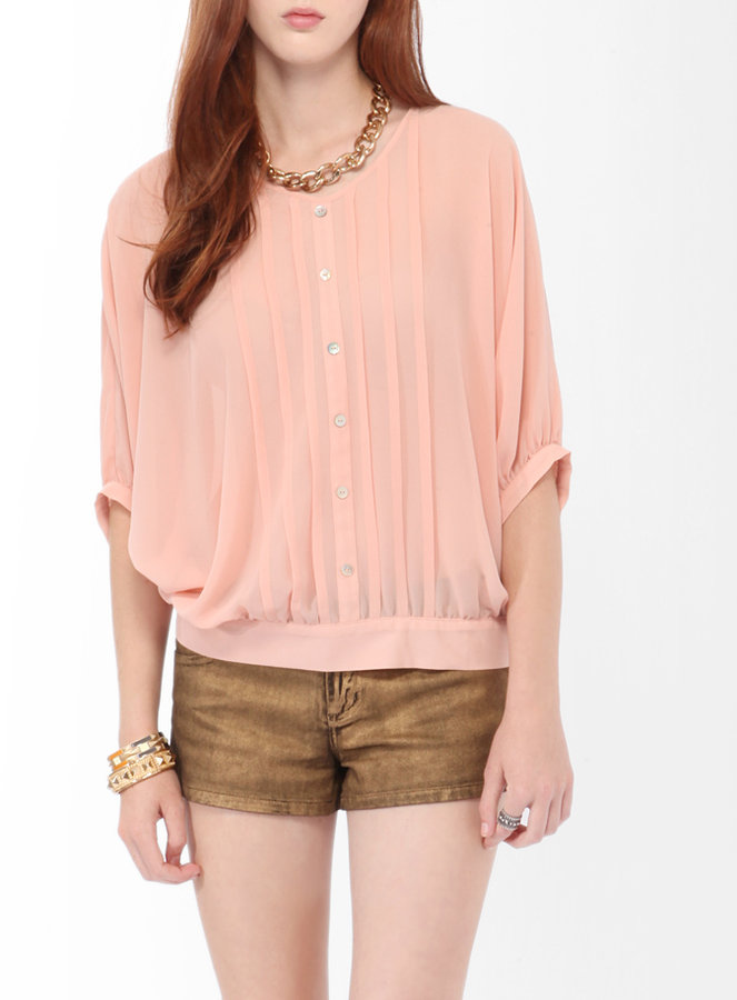 Forever 21 Pintuck Pleated Dolman Blouse
