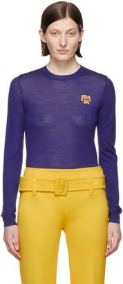 Prada Blue Wool Logo Sweater