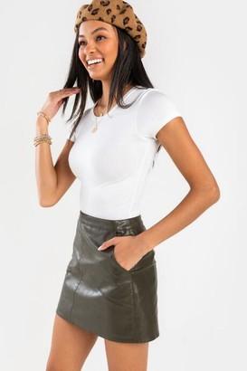 francesca's Luna Vegan Leather Mini Skirt - Olive