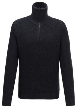 Zip-neck ribbed sweater in cotton with virgin wool