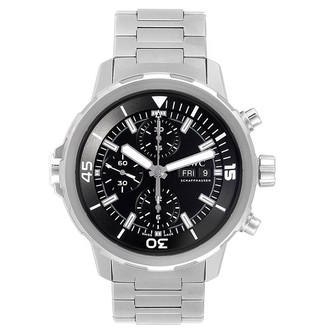 IWC Black and Stainless Steel Aquatimer Day Date IW376804 Men's Wristwatch 44MM