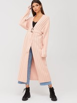 Missguided Ribbed Balloon Sleeve Longline Cardigan - Apricot