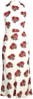Alexander McQueen Poppy-print ruffled-back high-neck crepe dress
