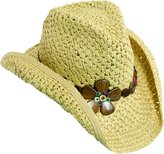 Dorfman Pacific Womens Shapeable Brim with Wood Flowers Western Cowgirl Hat, Large